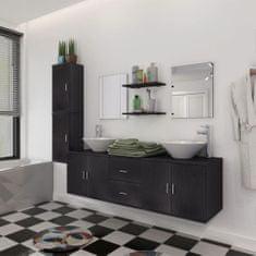shumee Devítikusový set koupelnového nábytku a umyvadel, černý