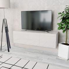 shumee Skrinka pod TV, drevotrieska 120x40x34 cm, vysoký lesk, biela