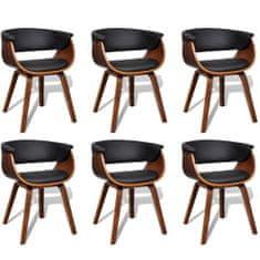Jedálenské stoličky 6 ks, ohýbané drevo a umelá koža