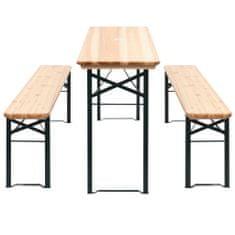Vidaxl Skládací pivní stůl se 2 lavicemi 177 cm borovice