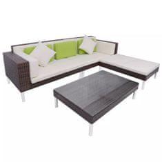 shumee 4-cz. zestaw wypoczynkowy do ogrodu, poduszki, rattan PE, brąz