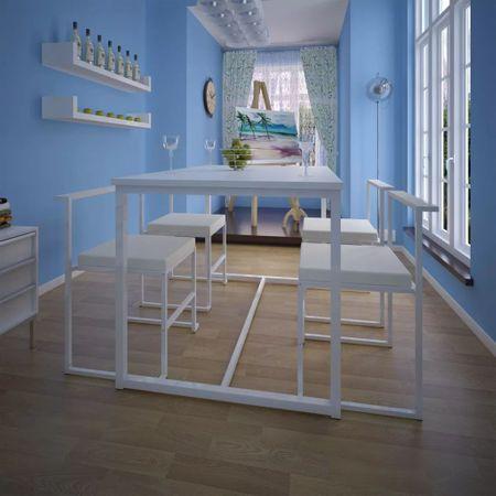 shumee 5-részes fehér étkezőasztal és székgarnitúra