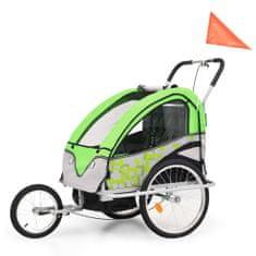 Dětský vozík za kolo a kočárek pro běžce 2v1 zeleno-šedý