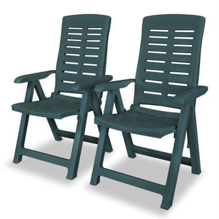 shumee Nastavljivi vrtni stoli 2 kosa plastika zelene barve