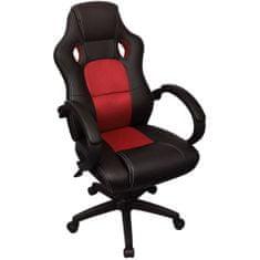 Vidaxl Ředitelské kancelářské křeslo v závodním stylu červená koženka