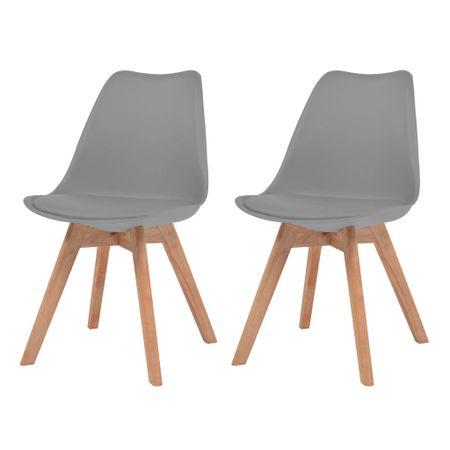 slomart Jedilni stoli 2 kosa sivo umetno usnje