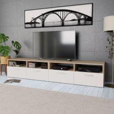 2 szafki pod TV, płyta wiórowa, 95x35x36 cm, dębowe i białe