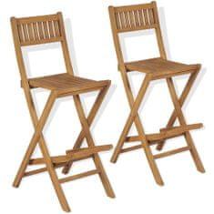Skladacie vonkajšie barové stoličky 2 ks, tíkový masív