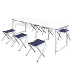 Skladacia kempingová sada so 6 stoličkami a stolom, 180 x 60 cm