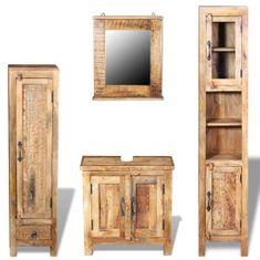 shumee Koupelnová skříňka se zrcadlem a 2 bočními skříněmi, masivní mangovníkové dřevo