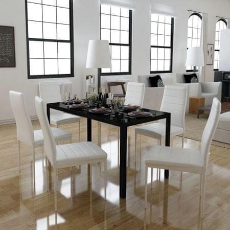 shumee 7 darabos Fekete és fehér étkező asztal szett