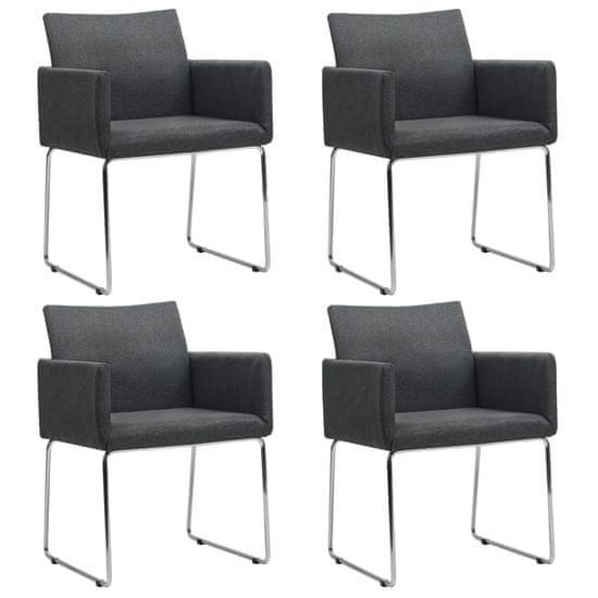 Jedálenské stoličky 4 ks, tmavosivé, látka