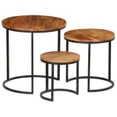 Konferenčné stolíky 3 ks akáciové drevo a sheeshamový povrch
