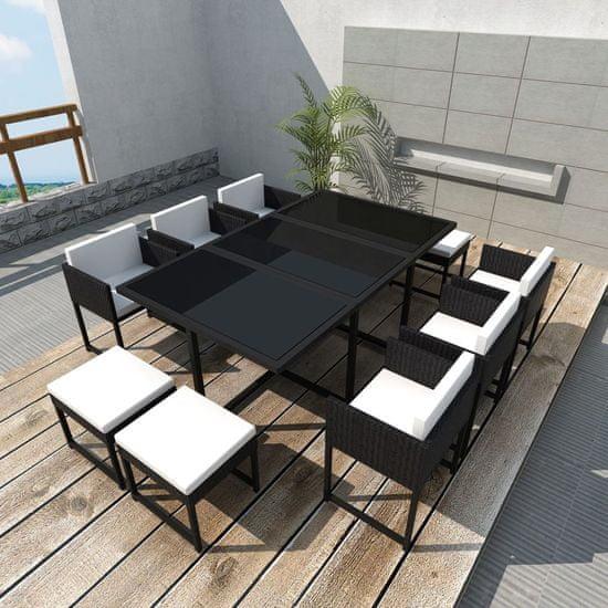 11-dielna vonkajšia jedálenská súprava s vankúšmi polyratan čierna