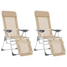 shumee Skladacie kempingové stoličky s podnožkami 2ks, krémové, hliník