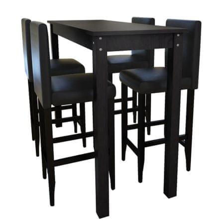 shumee Bárasztal 4 db fekete bárszékkel