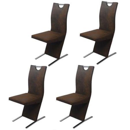 slomart Jedilni stoli 4 kosi rjavo blago