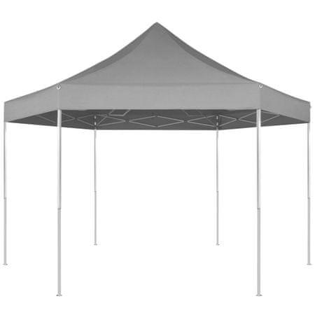 shumee szürke összecsukható hatszög alakú pop-up pavilon 3,6 x 3,1 m