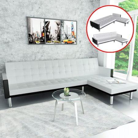 shumee Fehér, L-alakú, műbőr kanapéágy