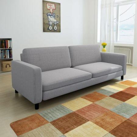 shumee 3 személyes világosszürke szövet kanapé