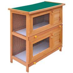 Vonkajšia králikáreň/klietka pre zvieratá, 4 dvierka, drevená