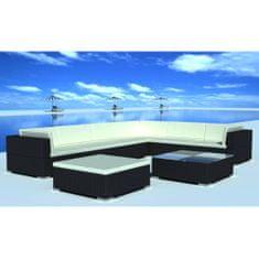 Vidaxl 8dílná zahradní sedací souprava s poduškami polyratan černá