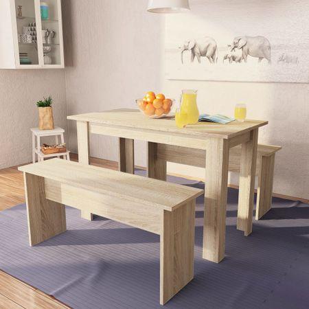 slomart Jedilna miza in klopi 3 kosi iverna plošča barva hrasta