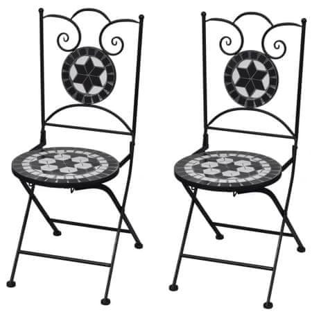 shumee Zložljivi bistro stoli 2 kosa keramika črne in bele barve