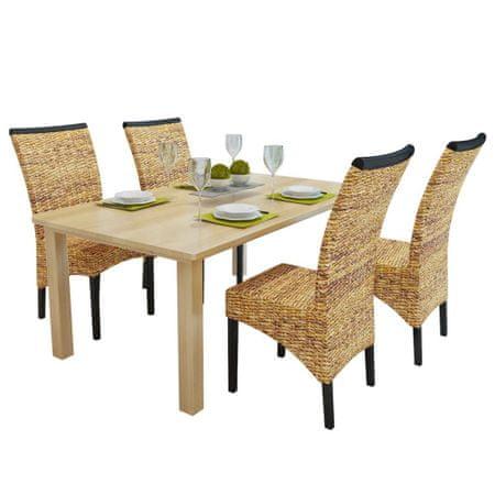 shumee Jedilni stoli 4 kosi abaka in trden mangov les