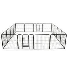 shumee Oceľová ohrádka pre psov so 16 panelmi 80x80 cm čierna