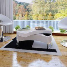 shumee Konferenční stolek s nastavitelným tvarem, bílý s vysokým leskem