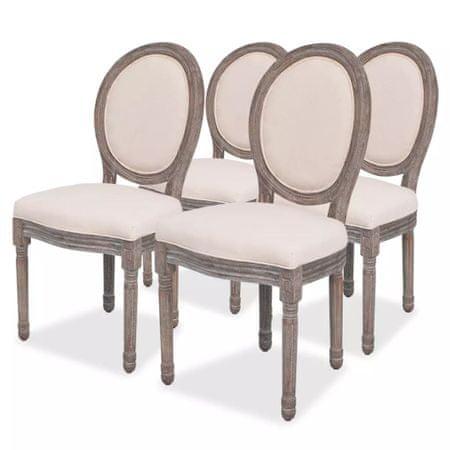 shumee Jedilni stoli 4 kosi krem blago