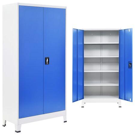 shumee szürke/kék fém irodaszekrény 90 x 40 x 180 cm