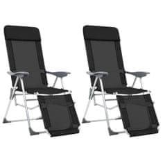 Skladacie kempingové stoličky s podnožkami 2 ks, čierne, hliník