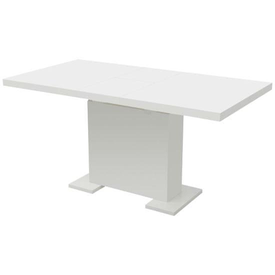 Rozkládací jídelní stůl s vysokým leskem bílý
