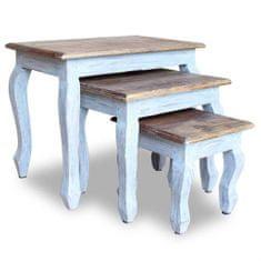 shumee Zasúvacie stolíky, 3 kusy, masívne recyklované drevo