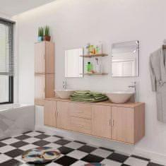 shumee 11kusový set koupelnového nábytku s umyvadlem a baterií, béžový