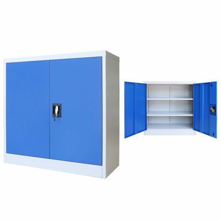 shumee szürke/kék fém irodaszekrény 90 x 40 x 90 cm