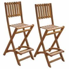 shumee Skladacie vonkajšie barové stoličky 2 ks, akáciový masív