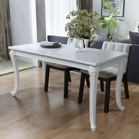 shumee Stół jadalniany, 116x66x76 cm, biały o wysokim połysku