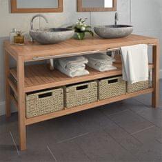 shumee Kúpeľňová skrinka so 4 košíkmi, teakové drevo 132x45x75 cm