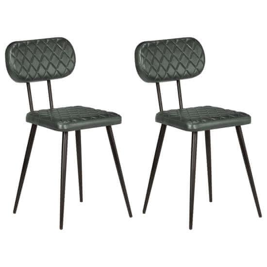 Jídelní židle 2 ks šedé pravá kůže
