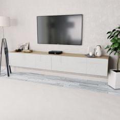 shumee TV stolíky, 2 ks, drevotrieska, 120x40x34 cm, vysoký lesk, bielo- dubové