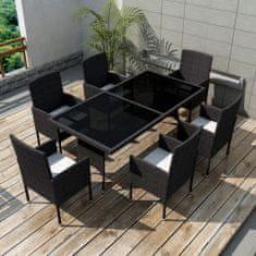 Vidaxl 7dílný zahradní jídelní set s poduškami polyratan černý