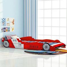 Detská posteľ, pretekárske auto 90x200 cm, červená