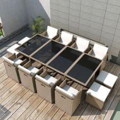 shumee 13-cz. zestaw mebli ogrodowych z poduszkami, rattan PE, beżowy