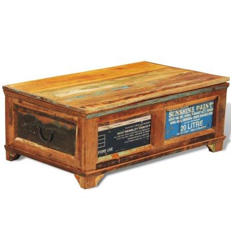 shumee újrahasznosított fa dohányzóasztal tárolórekesszel