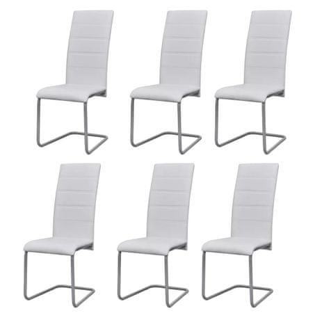 slomart Nihajni jedilni stoli 6 kosov belo umetno usnje