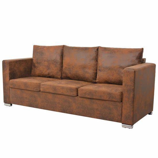 3-miestna sedačka, 191x73x82 cm, umelá semišová koža