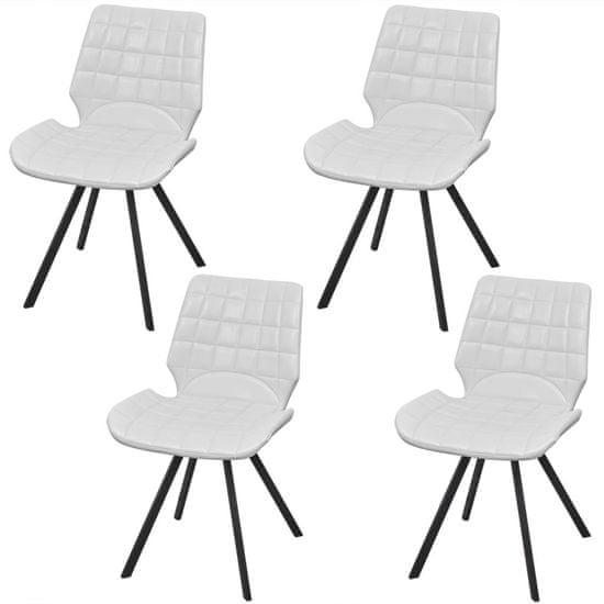 Vidaxl Jídelní židle 4 ks bílé umělá kůže